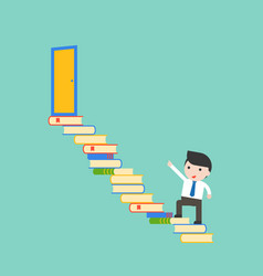 Cute businessman walk on pile of books steps to vector