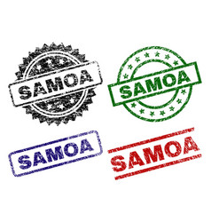 Damaged textured samoa stamp seals vector