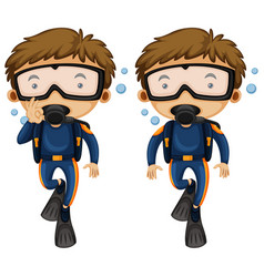 Divers and hand gestures vector