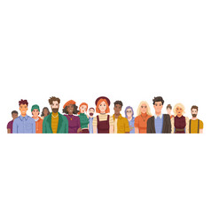 Diverse people in crowd portraits mob vector