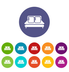 double bed icons set color vector image