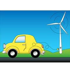 Eco car and windturbine vector image