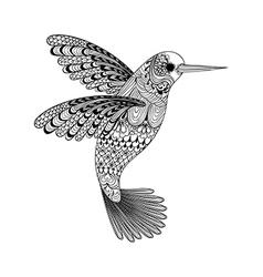 entangle stylized black hummingbird hand drawn vector image
