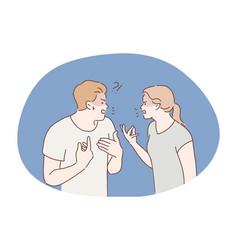 Family quarrel divorce concept vector