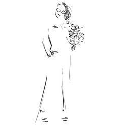 fashion sketch cartoon models girls with flowers vector image