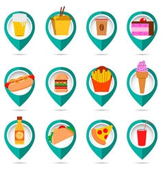 Fast food icons with map marks vector image