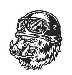 Ferocious biker wild boar head vector