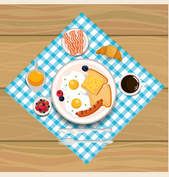 Fried eggs with sausage and bacons breakfast vector