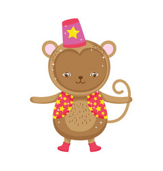 Funny circus monkey with hat vector