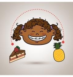 Girl fruit cake dessert vector