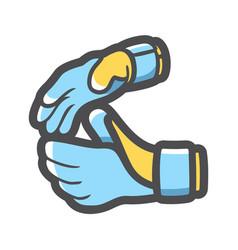 Goalkeeper gloves soccer icon cartoon vector