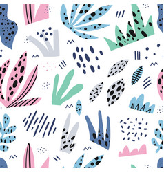 grass flat hand drawn seamless pattern vector image
