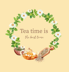 Herbal tea wreath design with aster mint vector