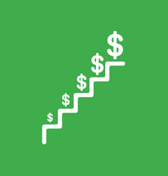 icon concept of stairs with dollars growing on vector image
