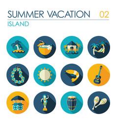 Island beach flat icon set summer vacation vector