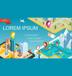 isometric mobile navigation system concept vector image