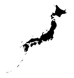 japan - solid black silhouette map of country area vector image