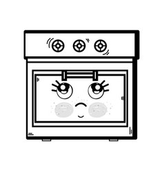Line kawaii cute thinking oven technology vector