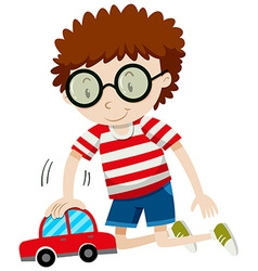 Little boy playing with toy car vector