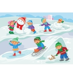 little children playing vector image