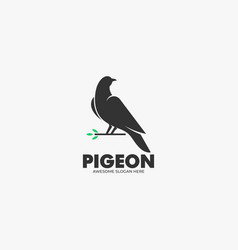 logo pigeon silhouette style vector image