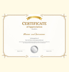 Luxury certificate template with elegant border fr vector