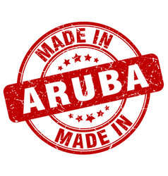 Made in aruba red grunge round stamp vector