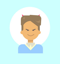 Male with devil horns emotion profile icon man vector