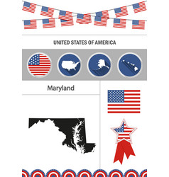 Map of maryland set of flat design icons vector