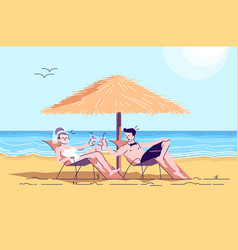 Married couple on beach flat doodle bride vector