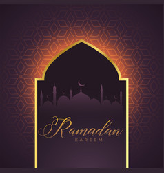 Mosque door with glowing lights and islamic vector