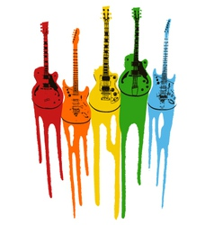 Music guitar in rainbow colour vector