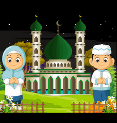 Muslim couple with mosque in night vector