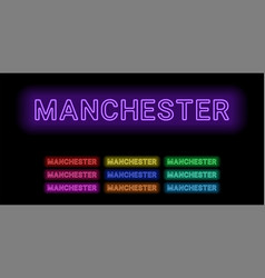 Neon name of manchester city vector