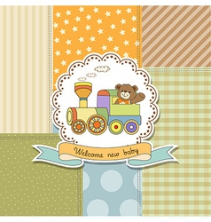New baby announcement card with train toy vector