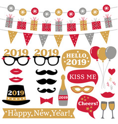 New year 2019 photo booth props and decoration vector