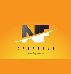 Nf n f letter modern logo design with yellow vector