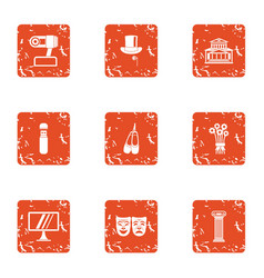 old show icons set grunge style vector image