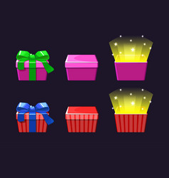 open and close colored gift box red and pink vector image