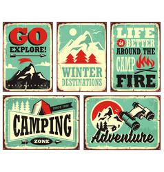 outdoor activities promotional set posters vector image