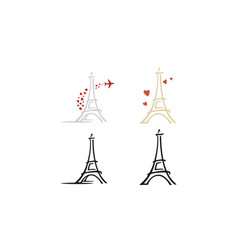 paris eiffel tower heart love plane travel logo vector image