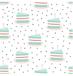 pattern with piece cake and candle vector image