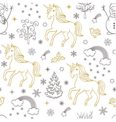 Pattern with unicornstreesbirdssnowmen vector