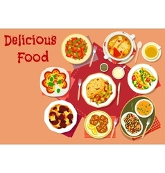 Popular dishes for lunch menu icon for food design vector image