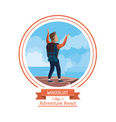 Poster color of wanderlust the adventure await vector