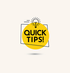 Quick tips text label template design vector
