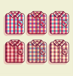 retro flannel shirt flat vintage vector image
