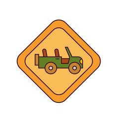 safari vehicle road sign vector image vector image