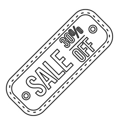 Sale tag 30 percent off icon outline style vector image