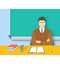 School teacher asian man at desk flat education vector